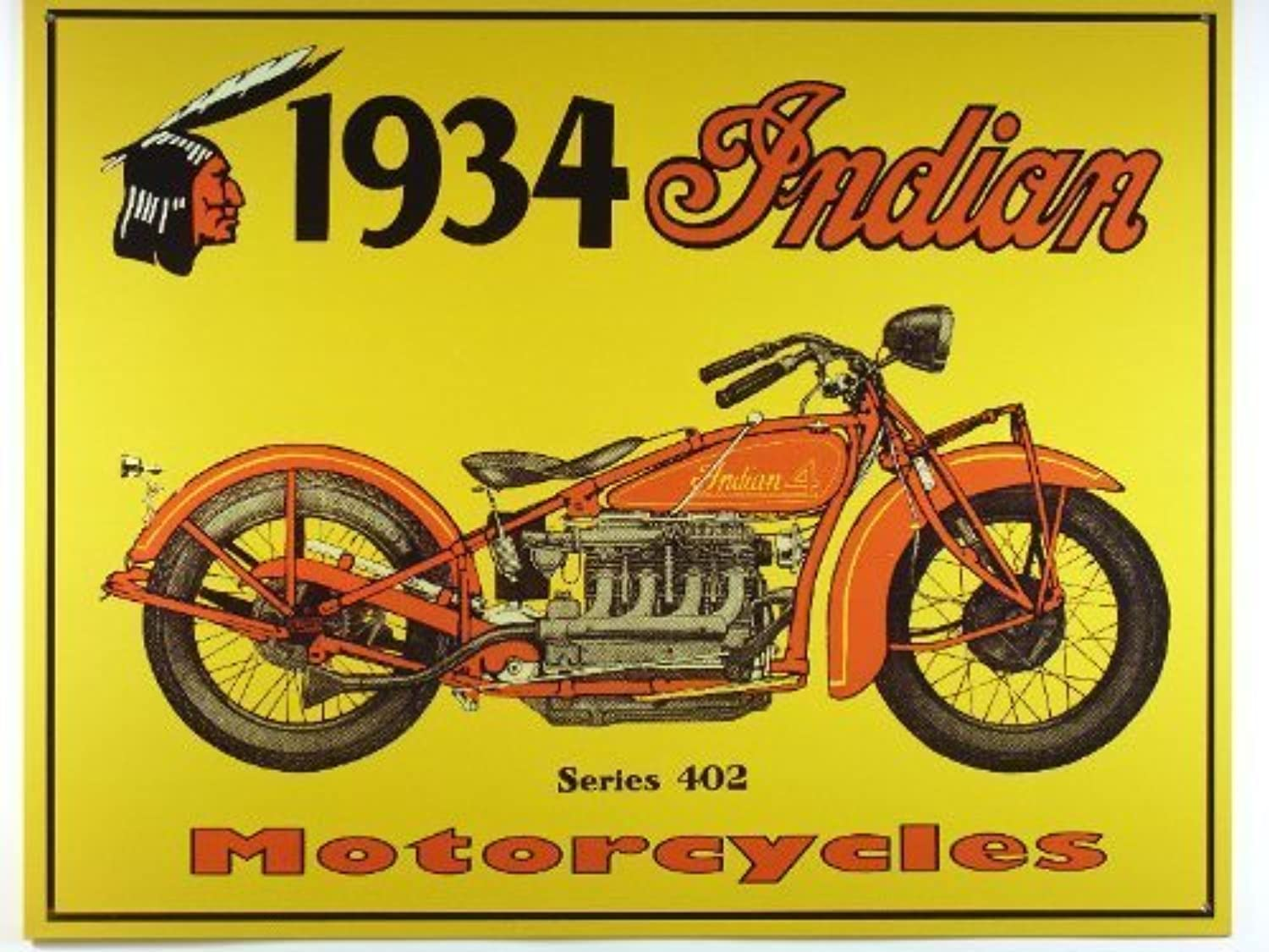 Nostalgic Indian Motorcycles Tin Sign   1934 Series 402 , 16x13 by Poster Discount