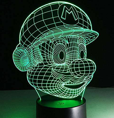 Super Mario Bros Luigi Toad Dragon Cartoon Game Character 3D Night Light Acrylic Novelty Night Light Christmas Kids Gift Table Lamp