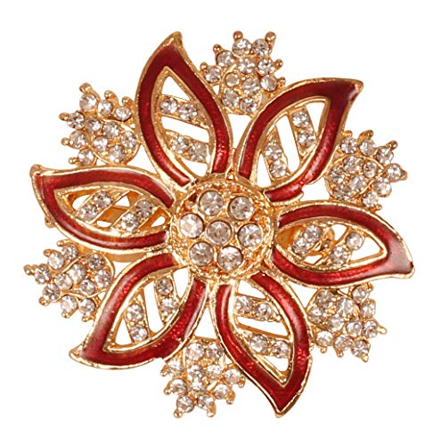 Touchstone New Indian Bollywood Romance Traditional Amazingly Crafted Petals Floral Rhinestone Enameled Meenakari Vintage Designer Jewelry Brooch In Gold Tone For Women.