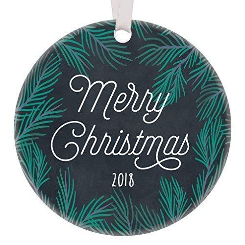 Fr75en Adorno navideño de pizarrón rústico de Porcelana con Texto en inglés Merry Christmas 2019