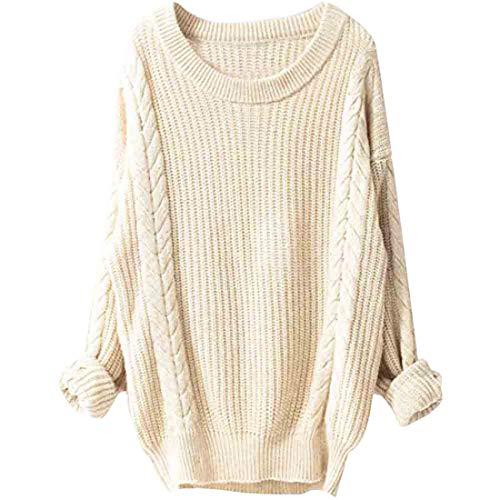 Women's Knit Sweater Long Sleeve Pullover Women Elegant All-Match Knit Ribbing Loose Blouses T Shirts Women Leisure Ribbing Vertical Stripes Jumper Autumn Sweatshirt Tops Christmas M