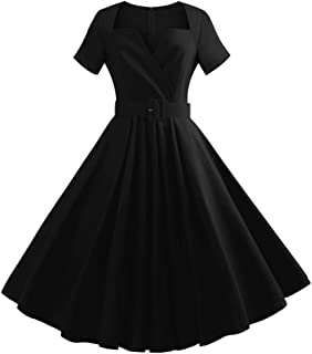 ae535dae6b2f Vintage Women Dresses Retro 1950s Style Short Sleeve Evening Party Swing  Dress