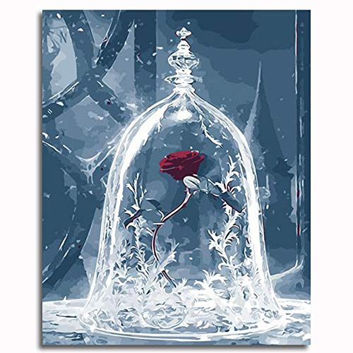 CELLYONE MEEKIS Malen nach Zahlen für Erwachsene und Kinder DIY Ölgemälde Geschenksets Vorgedruckte Leinwandkunst - Rose in Glas (40x50cm)