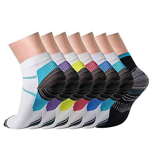 Compression Socks for Men & Women Plantar Fasciitis Socks Arch Support Foot Socks Low Cut Sports Socks (Mix-7 Pair, S/M)