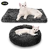 Legendog Pet Bed for Kittens, 2PC Plush Donut Grey Warm Pet Bed for Cat puppy Dog Round cat beds Warm Soft small dog bed + Grey Soft Blanket