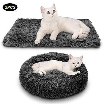 Legendog Lit pour chat, 2PC en peluche Donut gris chaud lit de chat chat chien rond nid chaud nid de chat doux + couverture souple gris