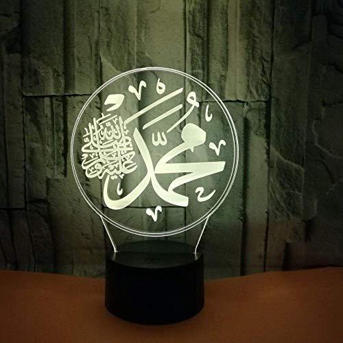 Islamische Muhammad 3D Nachtlicht USB Touch Schalter Dekor Tisch Schreibtisch Optische Täuschung Lampen 7 Farbwechsel Lichter LED Tischlampe Weihnachten Zuhause Liebe Brithday Kinder Kinder Dekor Sp