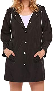Womens Pure Colour Single-Breasted Hooded Workout Lightweight Trench Coats one US X-Small