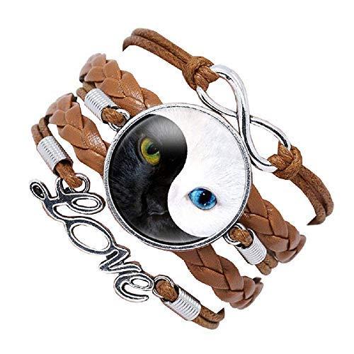 Inception Pro Infinite Pulsera de mujer – Pulsera – Yin Yang – Gato – Tao – Love – Trenzado – Color marrón – Amor – Multifilamento