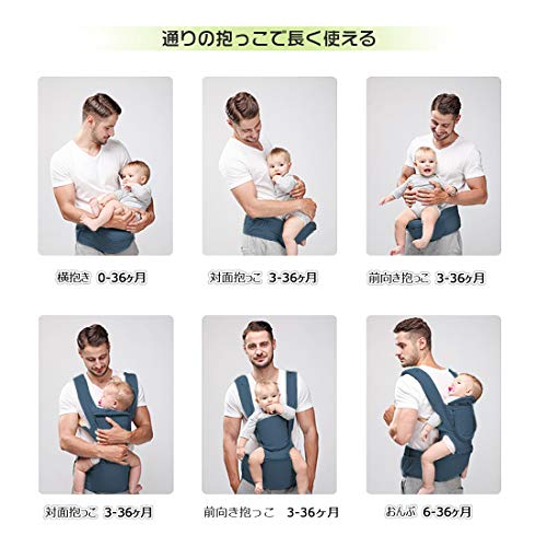 Peacoco 抱っこ紐 ヒップシート 収納 ベビーキャリア 新生児 抱っこひも 赤ちゃん 0-36ヶ月使える 通気メッシュ 対面抱き 腰抱き おんぶ可 6WAY 装着簡単 疲れにくい腰ベルト よだれパット付き 装着簡単 夏 四季兼用 軽量 ディープブルー