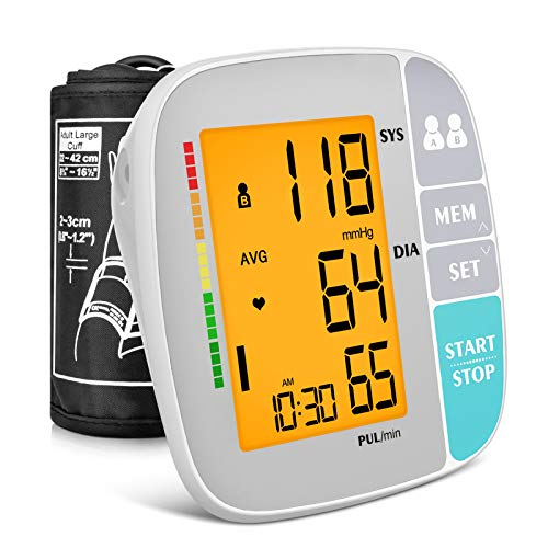 A ANJOCARE Blood Pressure Monitor Upper Arm, Accurate Automatic Digital BP Machine for Home use, Pulse Rate Monitoring Meter & Adjustable BP Cuff Kits, Large Display, 2x250 Memory, Batteries Included