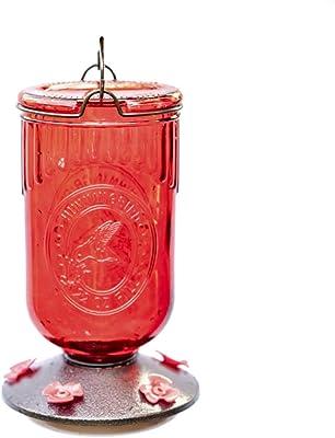 Nature's Rhythm Bird Feeder Vintage Red Antique Glass 5 Feeding Stations Glass Hummingbird Feeders 22 Ounces Nectar Capacity Per Feeder