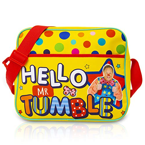 Mr Tumble Spotty Bag | Large Hello Mr Tumble Messenger Bag for School Or Travel | Long Strap to Fit Over Pushchair, Pram | Gift for Kids Toddlers 3 4 5 6 Year Old +