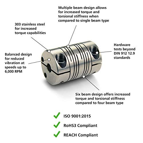 Stainless Steel 1-1//4 Length 3//8 Bore A Diameter 1 OD Ruland PCR16-6-5-SS Clamping Beam Coupling 5//16 Bore B Diameter 30 lb-in Nominal Torque 3//8 Bore A Diameter 5//16 Bore B Diameter 1 OD 1-1//4 Length Ruland Manufacturing B0060LUG4S Inch