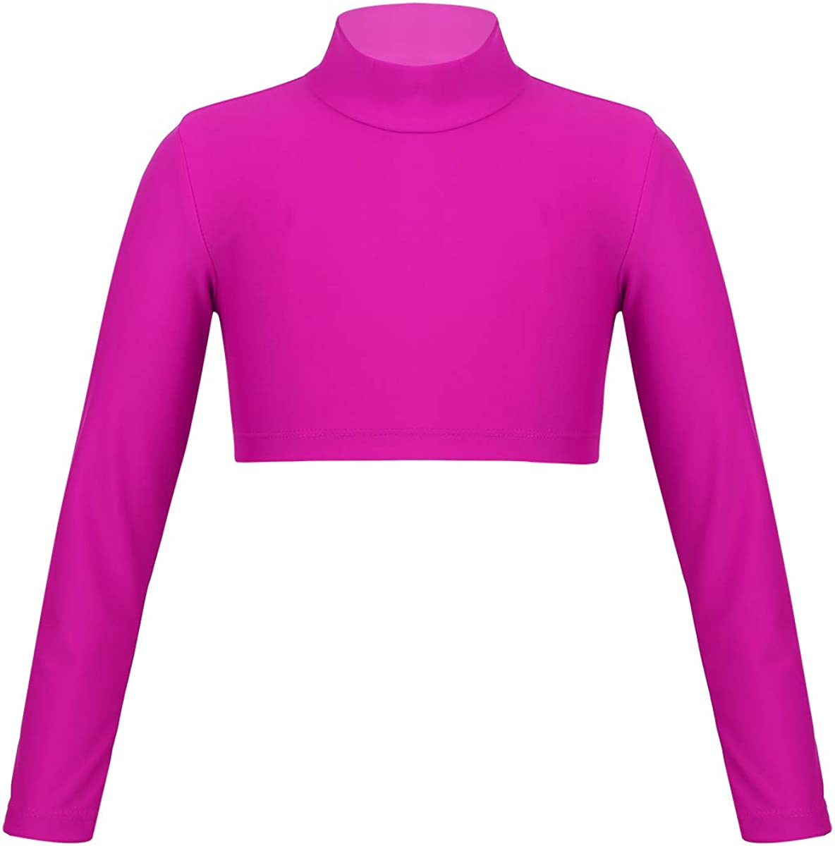 Jowowha Youth Girls Mock Neck Long Sleeve Athletic Crop Tops Solid Color Fitness Exercise T-Shirt Sportwear Rose_Red 14