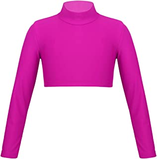 MSemis Kids Girls Stretchy Long Sleeves High Neck Crop Tops Jazz Hip-Hop Dance Costume Yoga Gym Workout Tight T-Shirt