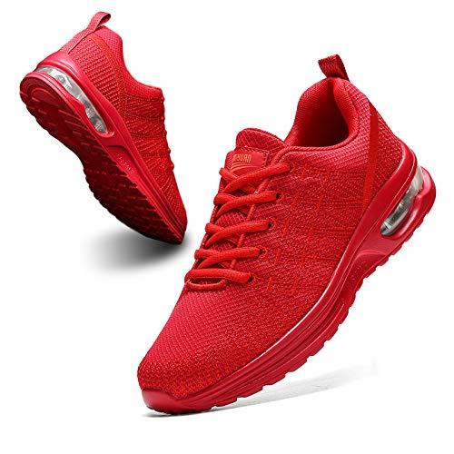 BUBUDENG Zapatillas Casual para Deporte Mujer de Senderismo para Mujer, de Malla Ligera, Transpirables, cómodas Zapatos para Caminar Mesh Running Transpirable Aumentar Más Altos Sneakers,Rojo,EU40