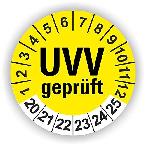 5-1.000 Stück Prüfplaketten Prüfetiketten Wartungsetiketten UVV Prüfung Ø 30mm (Gelb 30 Stück)