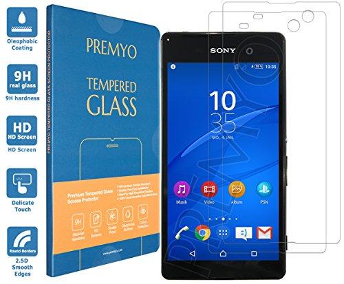 PREMYO 2 Stück Panzerglas Schutzglas Displayschutzfolie Folie kompatibel für Sony Xperia M5 Blasenfrei HD-Klar 9H 2,5D Gegen Kratzer Fingerabdrücke