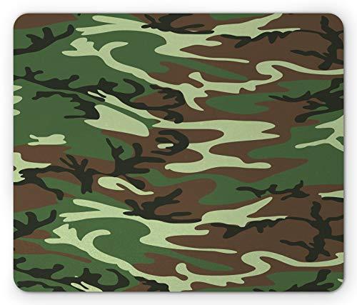 Alfombrilla de ratón de Camuflaje, clásica baldosa de Bosque con diseño de Uniforme de Comando Americano, Alfombrilla de Goma Rectangular Antideslizante, tamaño estándar, Verde marrón Verde Bosque