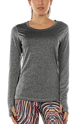 icyzone Damen Laufshirt Sport Training Langarm Shirt mit Daumenloch (Charcoal, L)