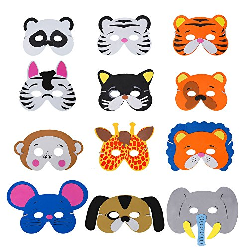 QIMEI-SHOP Máscaras de Animal 12 x Niños Eva Foam Má