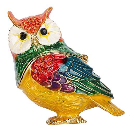 Joyero de Cristal, Caja portátil de la baratija del búho para la decoración del hogar del Organizador de los Ornamentos