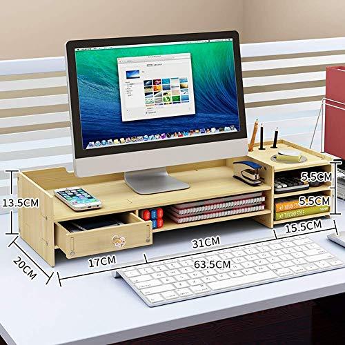 Computermonitorhouder van hout, bureau-organizer, monitorhouder, printermonitor, pc, tv met ladekast, esdoornwit, F