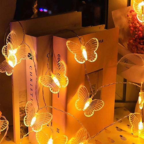 Guirnalda de luces LED con 20 pilas con forma de mariposa para fiestas, guirnalda de hadas y luces navideñas, para decoración del hogar