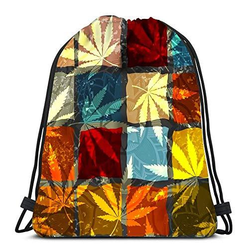 Unisex Drawstring Bags,Grunge Ethnic And Hemp Leaves Foldable Tote Sack Cinch Bag Men & Women Drawstring Backpack Casual Sackpack Backpack For School Traveling Climbing