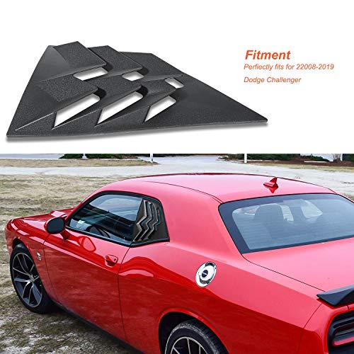 Danti 2PCS Side Window Scoop Louvers ABS Window Visor Cover Sun Rain Shade Vent for 2008-2019 Dodge Challenger
