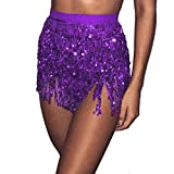 VJGOAL Moda para Mujer Vendaje Lentejuelas Danza del Vientre Traje Borla Falda Club Mini Falda(Un tamaño,Púrpura)