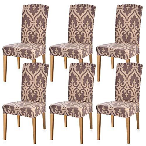 Fundas sillas de comedor elásticas y modernas pack de 6,Fundas de sillas decorativas para Salon Jardín Bodas Restaurante,Muy fácil de limpiar, Duradera
