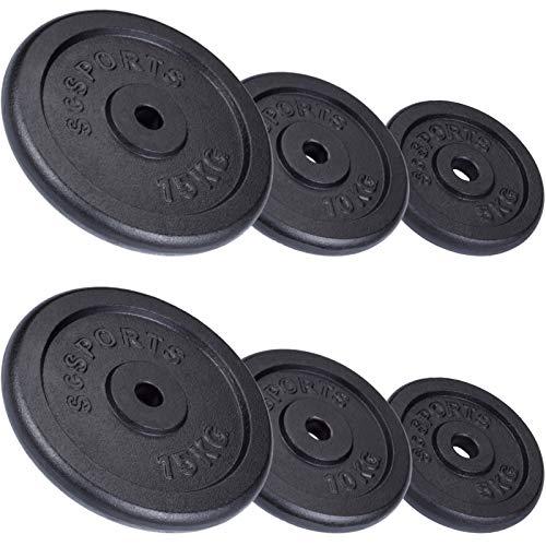 ScSPORTS 60 kg Hantelscheiben-Set 2X 15 kg, 2X 10 Kg, 2X 5 kg Guss Gewichte mit 30/31 mm Bohrung, durch Intertek geprüft + bestanden¹