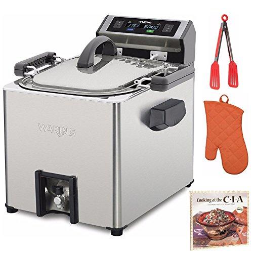 Waring Pro Electric Digital Rotisserie Turkey Fryer Plus Deep Fryer Steamer TF250 Includes Oven Mitt, 8-inch Nylon Flipper Tongs and Cookbook (Renewed)
