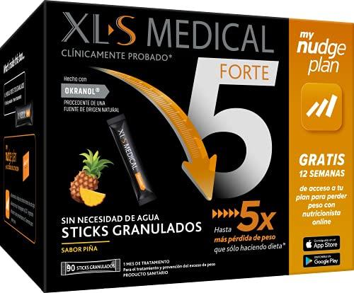 XLS Medical Forte 5 Sticks + Plan Nudge, Servicio De Nutricionistas Gratis. Tratamiento De 1 Mes, Sabor A Piña, color Blanco, 90 sticks granulados, 500 g