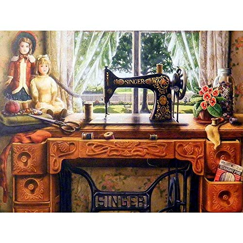 Dybjq 5D DIY bordado diamante escritorio imagen máquina de coser decoración del hogar pintura taladro redondo completo punto de cruz arte de pared regalo hecho a mano 40x50cm