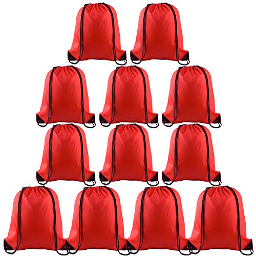 KUUQA 12 Pcs Drawstring Backpack Bags Sport Gym Sack Cinch Bags Bulk for School Traveling and Storage (Red)