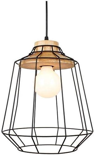 Ceiling Lamp E27 Pendentif En Bois Lumière Rétro Cage à Oiseaux évidé En Fer Forgé Lustre Abat-Jour Pour Bar Café Salle à Manger Loft Suspension Lampe