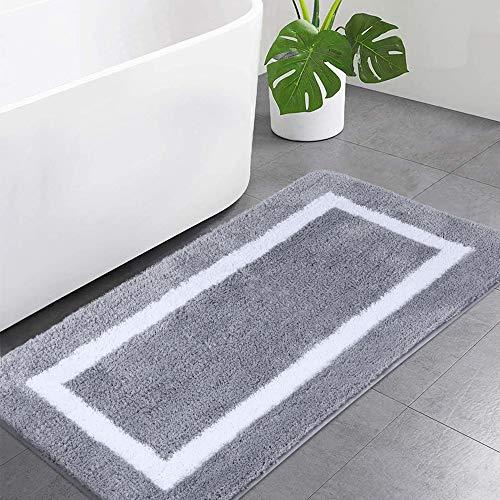 Homaxy Badezimmerteppich Badematte rutschfest Waschbar Badteppich Weiche Mikrofaser Hochflor Badvorleger – 60 x 120 cm, Grau