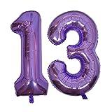 DIWULI, gigantescos Globos de número XXL, número 13, Globos púrpura Lila, número de Globos, Globos de Papel de Aluminio años, Globos Gigante Grande de Aluminio 13° cumpleaños, decoración, Fiesta