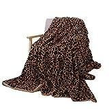 GELing Leopardenmuster Luxusdecke Plüsch warm super weich Decke,Flanell Shaggy Fleecedecke Groß gemütlich Tagesdecke Überwurfdecke Gelb Braun Leo 130 * 160cm
