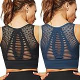 UMIPUBO Sujetador Deportivo Mujer Material Cómodo Sin Costuras Almohadilla Desmontable para Gimnasio Yoga Bailar de Alto Impacto (C, S)