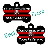 uDesignUSA Marvel Deadpool Double Sided Pet Id Tag for Dogs & Cats Personalized with 4 Lines of Text