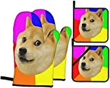 Rainbow Doge Meme Oven Mitts and Pot Holders Sets of 4,Resistant Hot Pads with Polyester Non-Slip BBQ Gloves for Kitchen,Cooking,Baking,Grilling