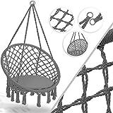 Kesser Hängesessel 150kg mit 2 Stahlringe Sitzpolster geflochten Fransen Hängestuhl Hängekorb Schaukelkorb Garten Indoor wetterfest, wasserabweisend, Grau