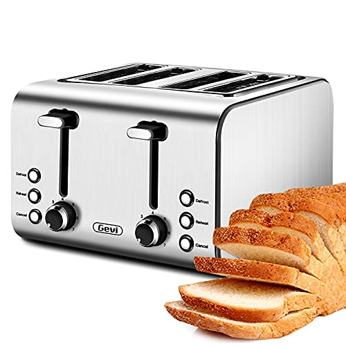 Toaster 4 Slice, Gevi Stainless Steel Extra-Wide Slot Toaster with Dual Control Panels of Reheat/Defrost/Cancel Function, 7 Toasting Bread Shade Settings, Removable Crumb Trays, Auto Pop-Up