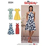 Simplicity US8594RS Women's Crewneck and Halter Dress Sewing Patterns, Sizes 14-22