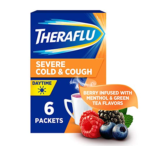 Theraflu Powder for Daytime Severe Cold and Cough, Berry Infused with Menthol (6 packets)