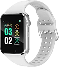 321OU Smart Watch Compatible iOS Android iPhone Samsung for Women Men, Make/Answer Calls Support Bluetooth Touchscreen Sport Watch Fitness Tracker with Pedometer Camera (White)